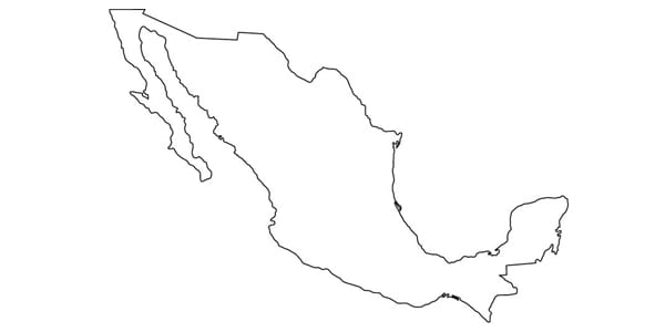 map, country, outline, mexico