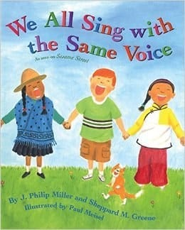 childrens, book, we all sing