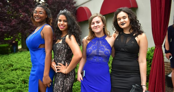 Four girls dressed for prom., science & tech, culture
