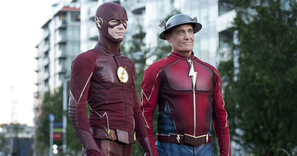 Barry and Jay from The Flash standing together while in costume., wdc-slideshow, pop culture, movies/tv