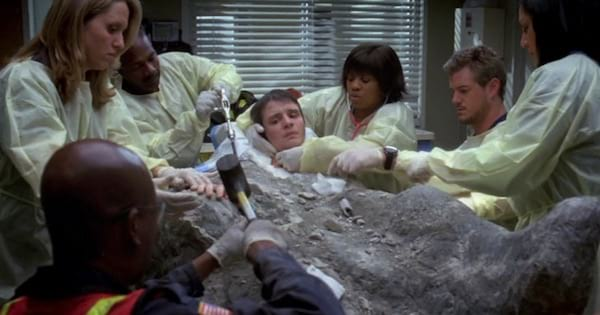 Grey's Anatomy young boy buried in concrete cement