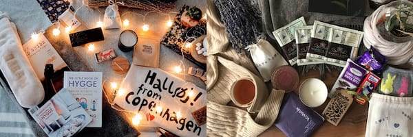 two images of the Hygge Box, Subscription Boxes To Give