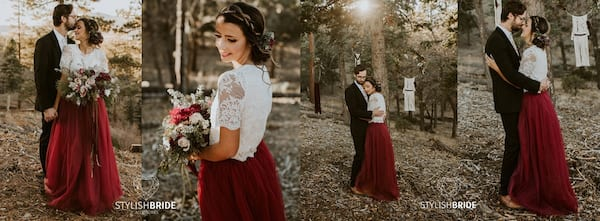 fashion, relationships, four images of white woman wearing a white lace top and maroon tulle skirt, Wedding Looks For the Nontraditional Bride