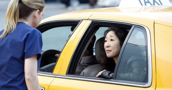 cristina saying goodbye to meredith in her taxi grey's anatomy season 10